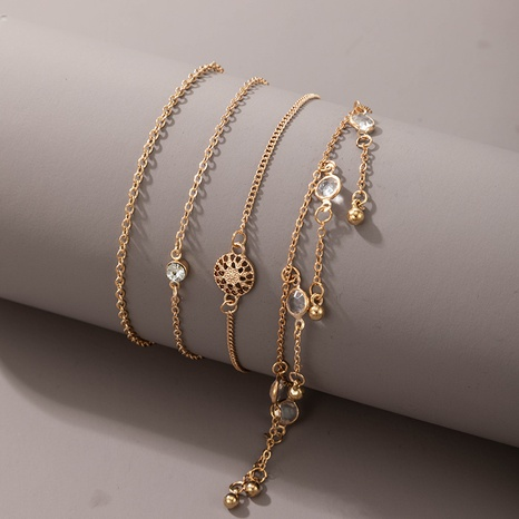 new style bohemian fashion diamond-studded tassel anklet set NHGY359766's discount tags