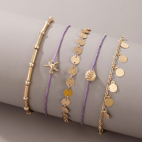 new bohemian fashion style starfish scallop simple anklet 5-piece set  NHGY359765's discount tags