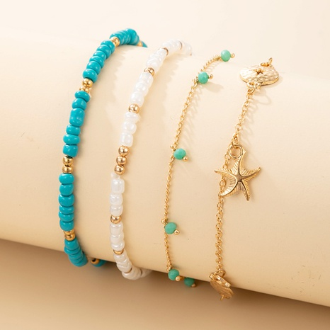 new fashion beach style colored rice beaded anklet 4-piece set NHGY359764's discount tags