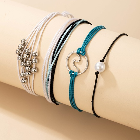 new Bohemian ethnic style fashion pearl braided anklet 4-piece set NHGY359763's discount tags