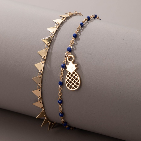 new style bohemian fashion geometric blue beads pineapple creative beach style anklet NHGY359752's discount tags