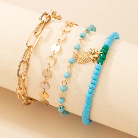 bohemian beach style geometric pineapple anklet 4-piece set NHGY359660's discount tags