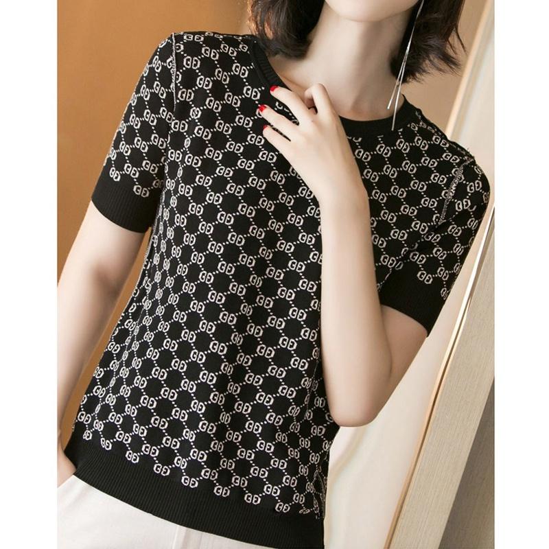 retro print shortsleeved knitted Tshirt NHKO359651