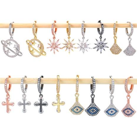 Pendientes de cobre de circón de diamante completo de color de moda al por mayor NHWG358861's discount tags