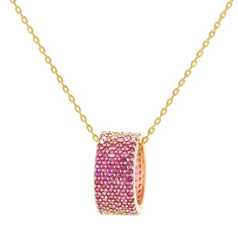 Collar de cobre con colgante de diamantes de imitación completo coreano NHWG358871's discount tags