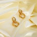 simple goldplated stainless steel double small round large hoop earrings  NHJIE359087