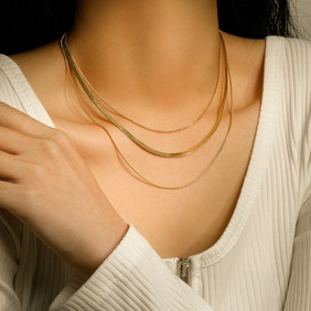fashion three-layer 14K gold-plated stainless steel necklace NHJIE359255