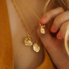 fashion human face pendant gold-plated stainless steel necklace  NHJIE359262