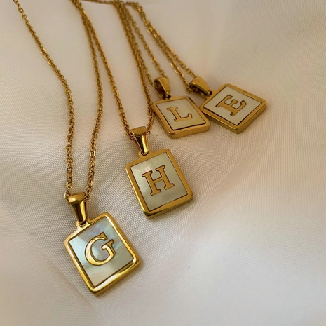 Trendy Letter Rectangular Shell 18K Gold Stainless Steel Necklace NHJIE359276's discount tags