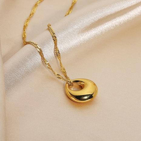 colgante de gota de oro simple collar de acero inoxidable de 18 quilates NHJIE359298's discount tags