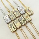 fashion niche tarot pendant plated real gold copper necklace  NHJIF359307