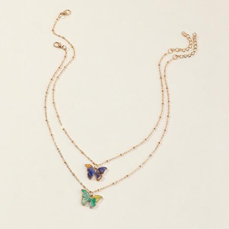Venta al por mayor linda colorida del collar de los niños de la muchacha del colgante de la aleación de la mariposa NHNU359347's discount tags