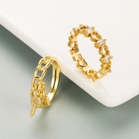 Anillo de pareja hipster de anillo abierto en forma de corazón hueco chapado en oro de cobre NHLN359379's discount tags