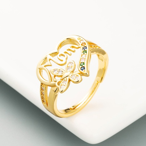 Anillo de mariposa con letra de amor hueco anillo de circonita con microincrustaciones de oro de 18 quilates chapado en cobre puro NHLN359380's discount tags