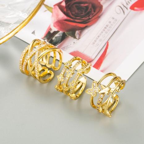 Anillo de mariposa geométrica de oro de 18 quilates chapado en cobre que abre el anillo de dedo índice ajustable NHLN359381's discount tags