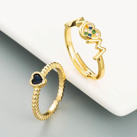 Anillo en forma de corazón de cobre puro con micro incrustaciones de circonio anillo ajustable con apertura NHLN359382's discount tags