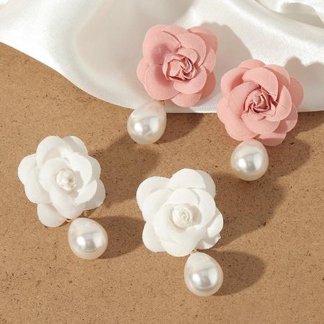 Pendientes de perlas de imitación pendientes de flores de tela de moda mujer NHNZ359395's discount tags