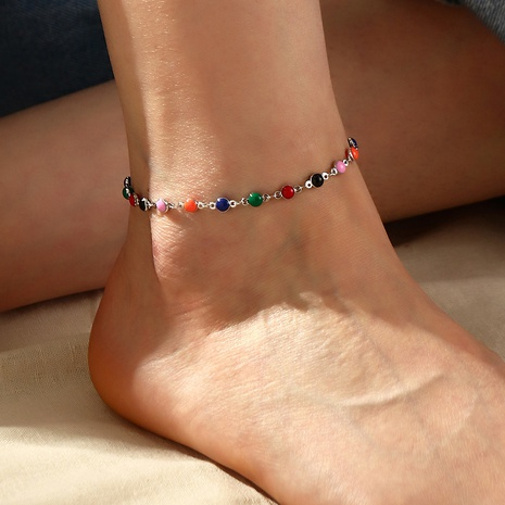 Bohemian colored rice bead anklet beach hand-made woven foot ornaments NHNZ359396's discount tags