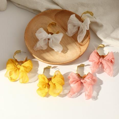 Pendientes de nudo de lazo de hilo de tela Pendientes en forma de C de Mori Girls NHNZ359397's discount tags