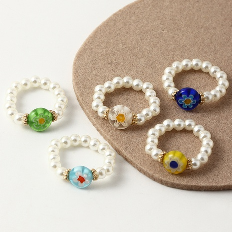 Beaded Pearl Ring 5 Sets Adjustable Fun Colored Glass Bead Flower Ring  NHNZ359384's discount tags