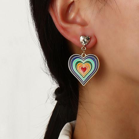 Pendientes de amor de arco iris pendientes de niña de corazón de nectarina gota de aleación retro NHNZ359386's discount tags