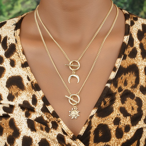 Conjunto de collar de girasol cuernos al por mayor NHGU359401's discount tags