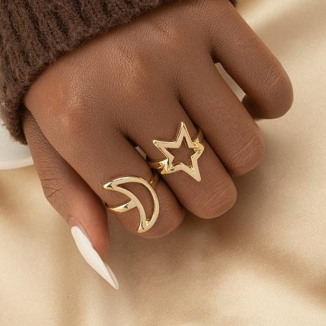 Conjunto de anillos de estrellas y luna al por mayor conjunto de anillos de aleación de oro y plata NHGU359404's discount tags