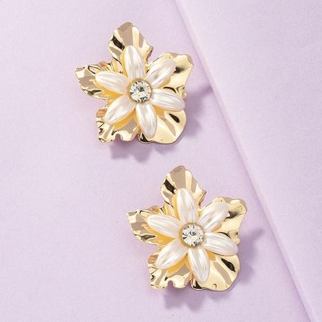 Pendientes de flor de perlas de metal al por mayor pendientes exagerados NHGU359405's discount tags