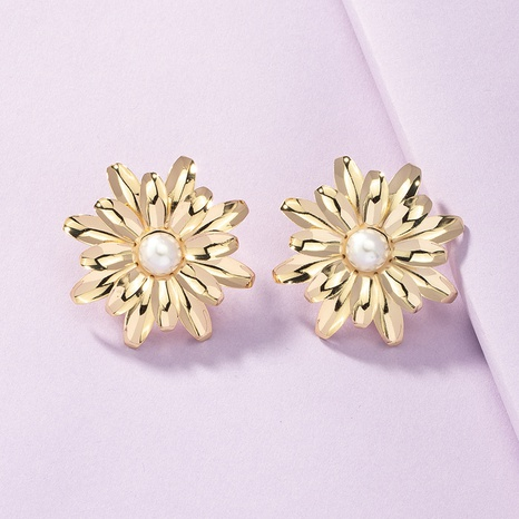 Pendientes de perlas de flor de metal al por mayor fijados pendientes exagerados NHGU359406's discount tags