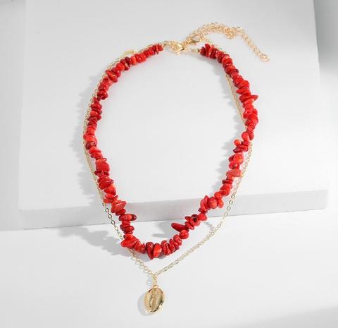 Collar de concha de piedra al por mayor collar de piedra roja de vacaciones de verano NHGU359400's discount tags