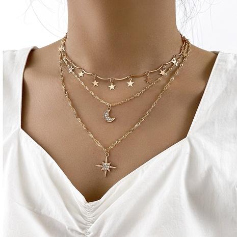 Collar multicapa estrella luna cadena de clavícula estrella de cinco puntas NHPV359408's discount tags