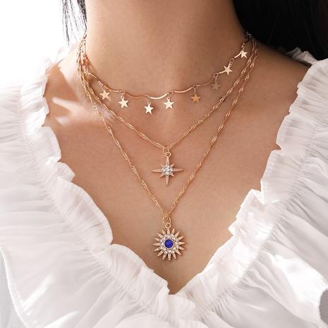 Desgaste multicapa estrella de cinco puntas diamante estrella de ocho puntas sol flor colgante collar de borla NHPV359409's discount tags