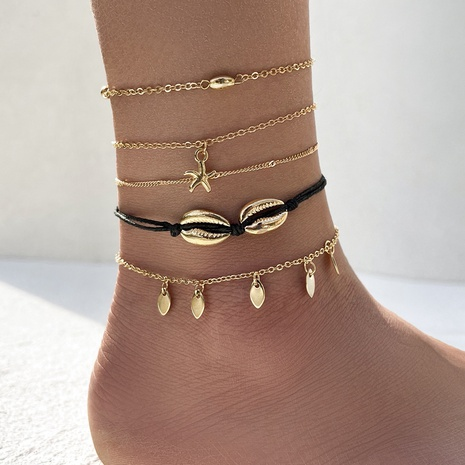 Bohemian starfish shell anklet five-piece set NHPV359411's discount tags