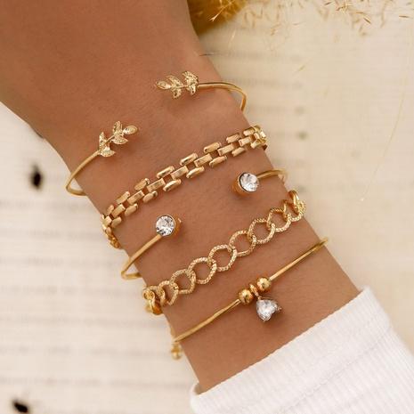 Conjunto de pulsera abierta de diamantes de imitación con cuentas de diamantes de punto de hoja geométrica NHPV359414's discount tags