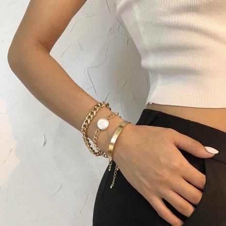 Conjunto de pulsera simple de cadena de hip hop de perlas geométricas de moda NHMD359422's discount tags