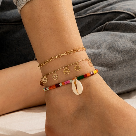 new style bohemian color beaded shell classic fashion LOVE anklet NHGY345062's discount tags