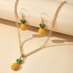 süße Mode neue schöne natürliche Wind Ananas Ohrringe Halskette Set NHGY345046