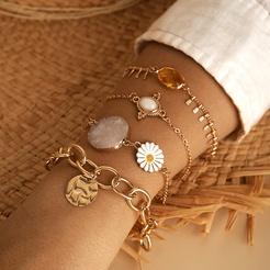 neue Mode einfache kleine Gänseblümchen Kette rundes Stück Quaste Armband 4 Stück Set NHGY345045