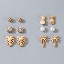 new fashion style diamondstudded pearl pineapple leaf coconut tree 6piece earrings NHGY347103