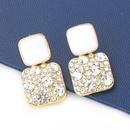 fashion square alloy drip oil acrylic diamond earrings NHJE344785