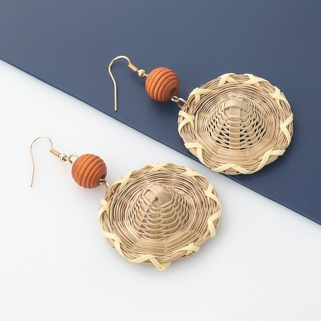 wholesale simple rattan woven straw hat earrings  NHJE344791's discount tags