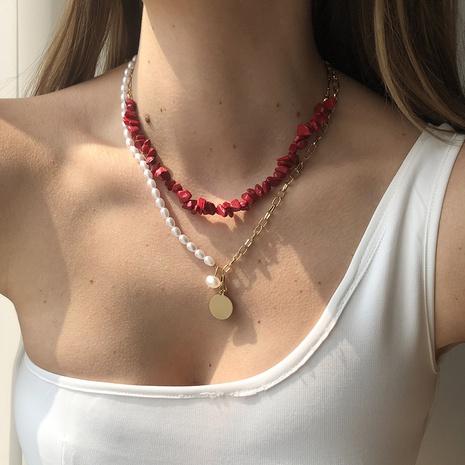 Collar de doble capa de cadena de empalme colgante de disco de piedra natural de moda NHMD344836's discount tags