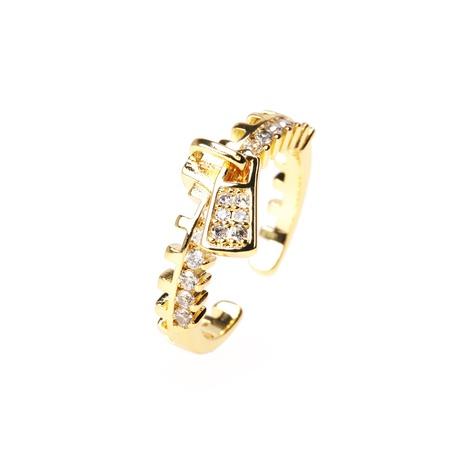 anillo abierto en forma de cremallera con diamantes de cobre de moda NHPY344864's discount tags