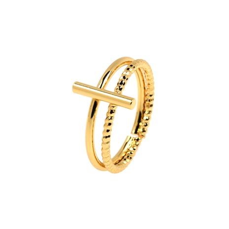 anillo de cobre de doble capa con bloqueo de línea geométrica simple NHPY344874's discount tags