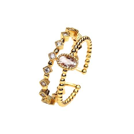 anillo de doble capa abierto de circón con incrustaciones de cobre simple NHPY344877's discount tags