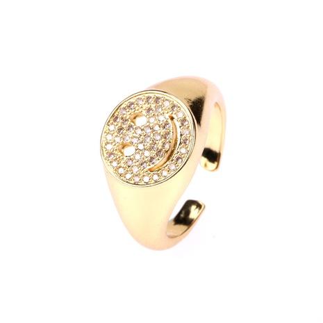 anillo ajustable abierto de micro diamante con cara sonriente en forma de C simple NHPY344888's discount tags