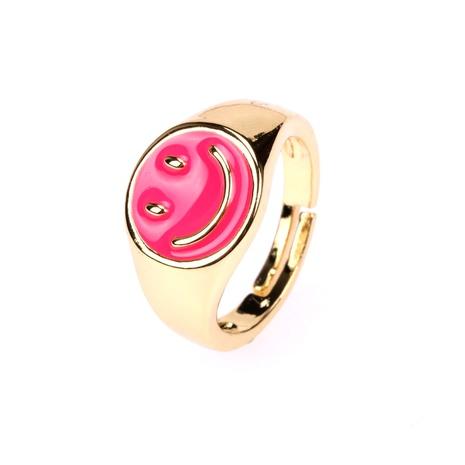 anillo de apertura de cara sonriente de aceite de goteo chapado en cobre de moda NHPY344904's discount tags