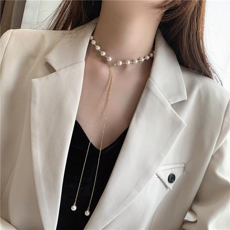 Collar largo ajustable de empalme de metal de perlas coreanas NHMS344910's discount tags
