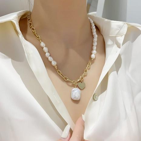 Cadena de clavícula colgante de corazón de perlas barrocas NHMS344921's discount tags
