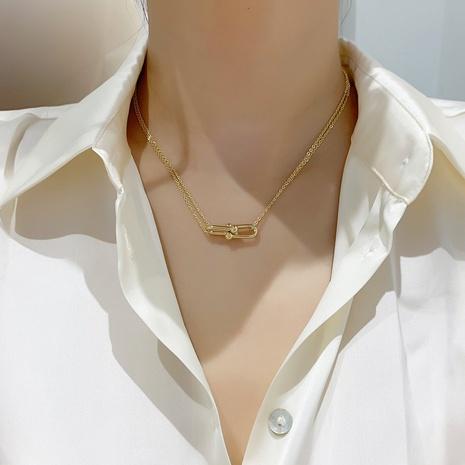 collar colgante geométrico simple de doble capa NHMS344929's discount tags